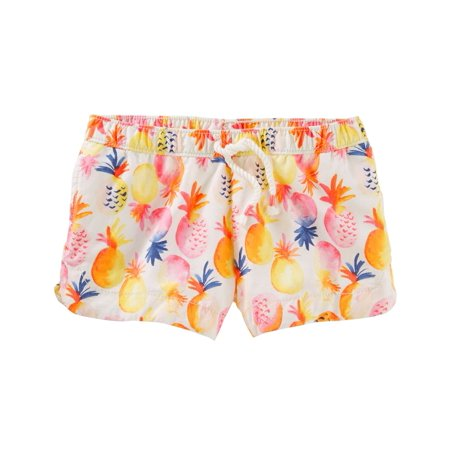 Carter's Little Girls' Pineapple Print Sun Shorts, 6 Kids
