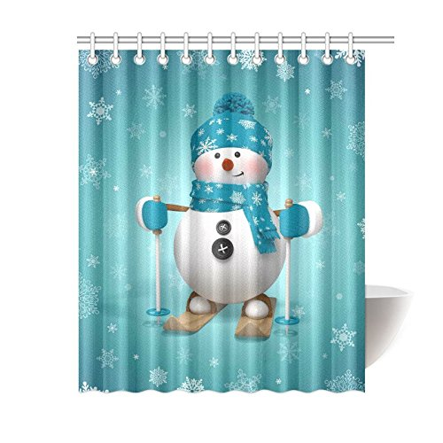 GCKG Skling Snowman Shower Curtain, Christmas Cartoon Character Polyester Fabric Shower Curtain Bathroom Sets with Hooks 60x72 Inches