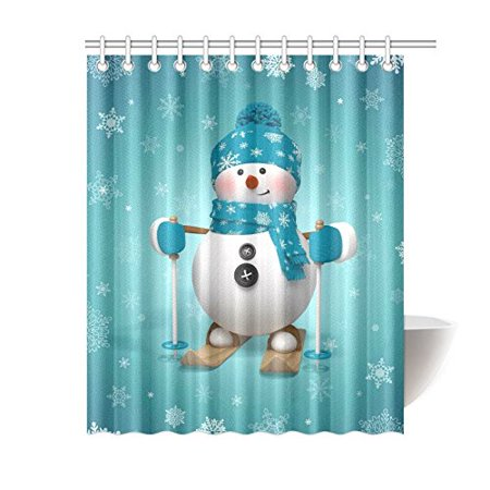 GCKG Skling Snowman Shower Curtain, Christmas Cartoon Character Polyester Fabric Shower Curtain Bathroom Sets with Hooks 60x72 Inches - image 3 of 3