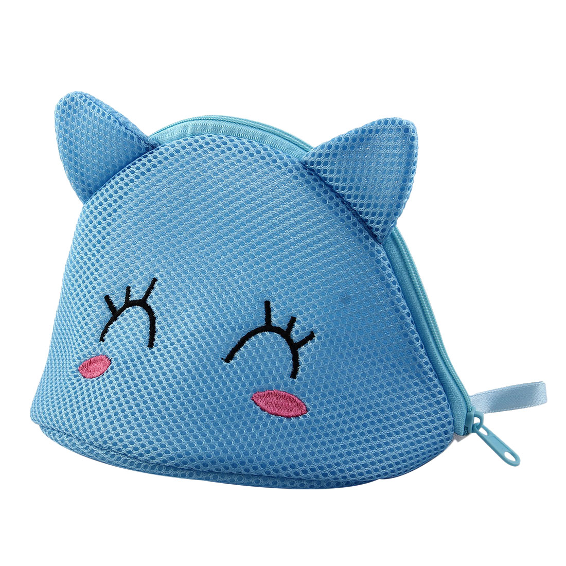 Home Polyester Cat Shape Clothes Underwear Lingerie Holder Washing Cleaning Bag