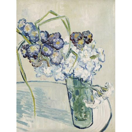 Vase of Carnations, c.1890 Post-Impressionism Floral Vase Blue White Flower Art Print Wall Art By Vincent van Gogh