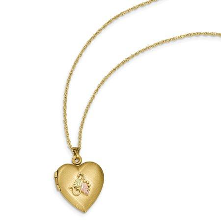 14k Gold & 12k Accents Black Hills Heart Locket Pendant 18