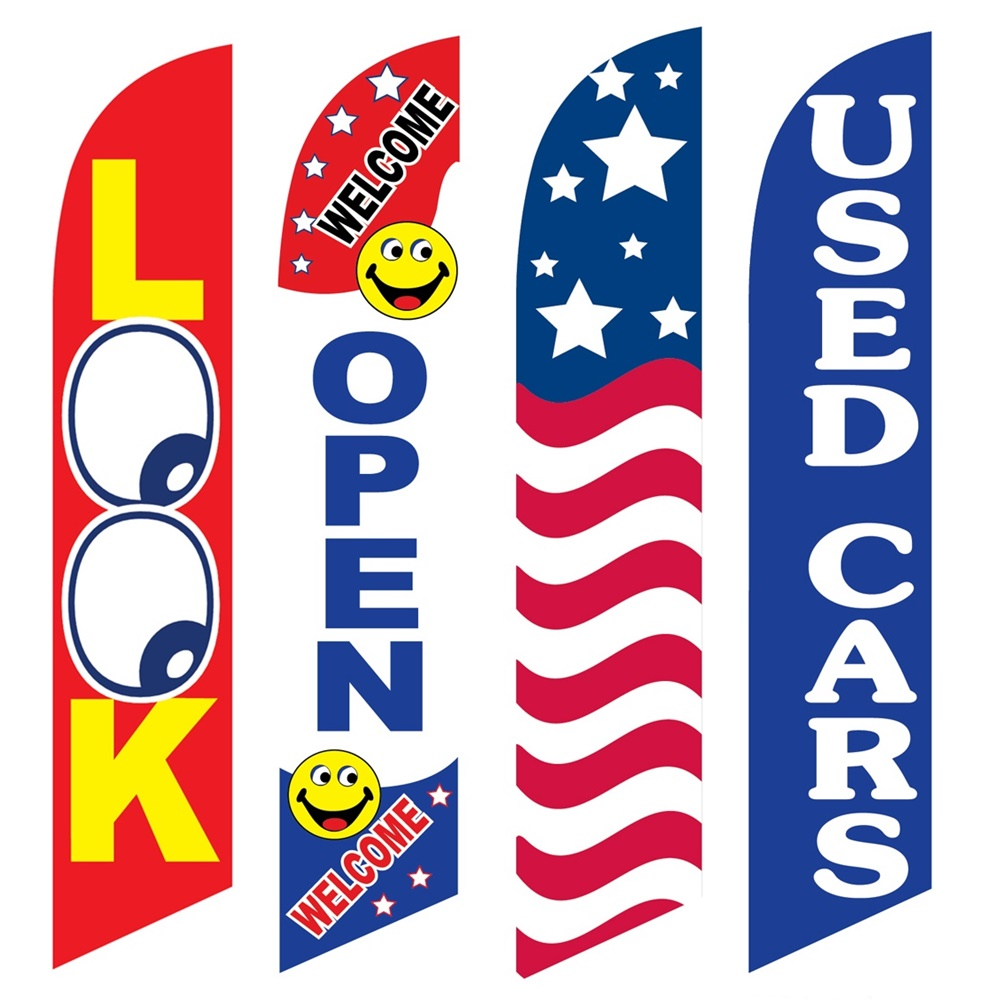 4 Advertising Swooper Flags Look Welcome Open USA Used Cars
