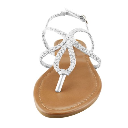 5247a8cb1eb5 phoebecat - Womens Braided Gladiator Flat Thong Sandals