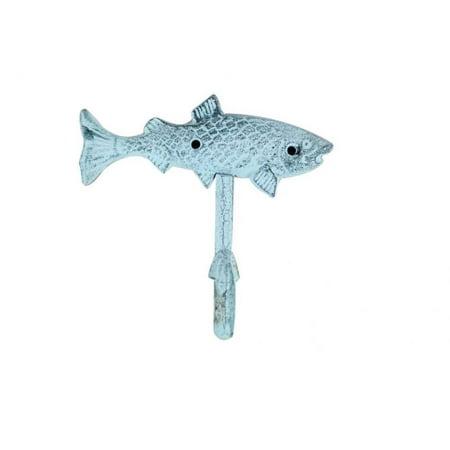Dark Blue Whitewashed Cast Iron Fish Key Hook 6