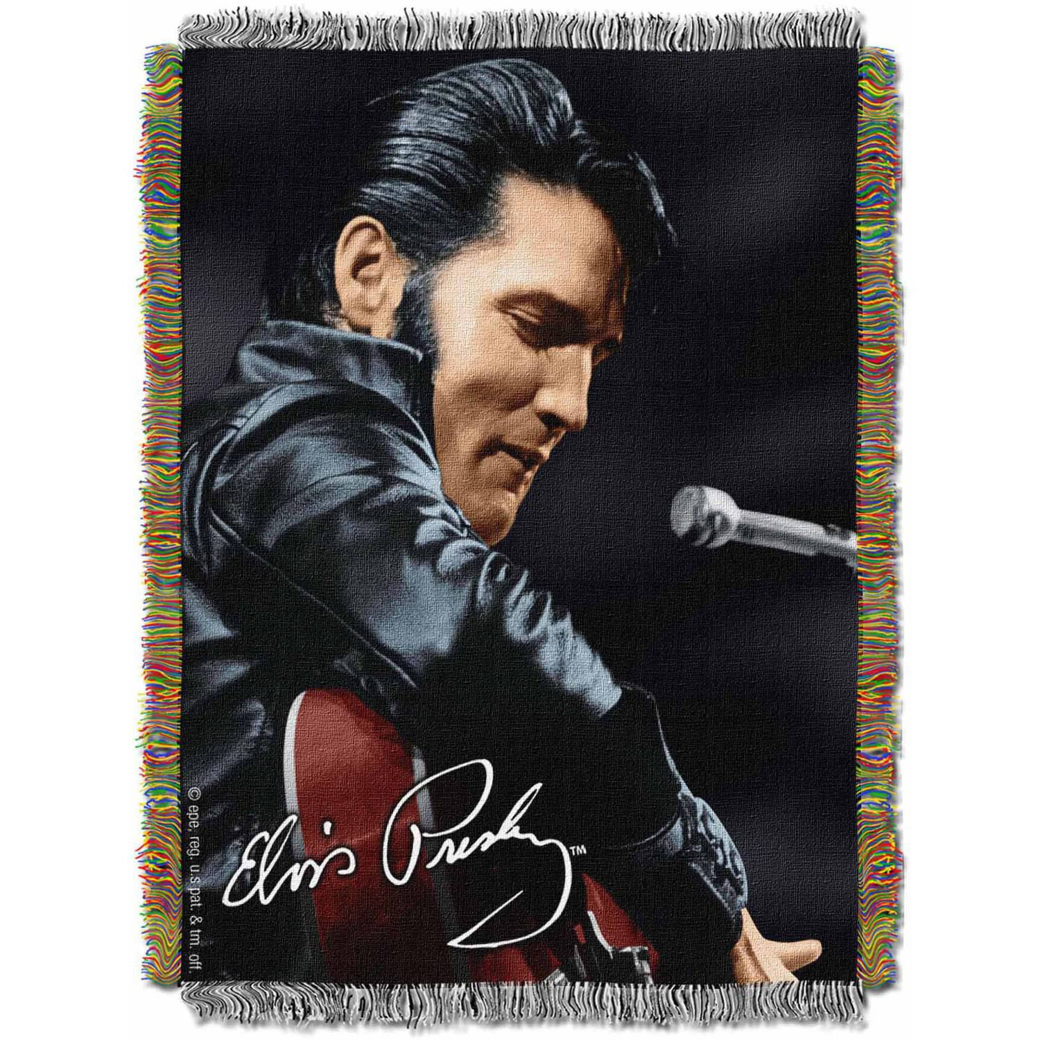 "Elvis ""Leather Sitting"" 48"" x 60"" Woven Tapestry Throw"
