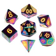 Metallic Dice Games LIC014 16 mm Flame Torched Rainbow Metal - Set of 7