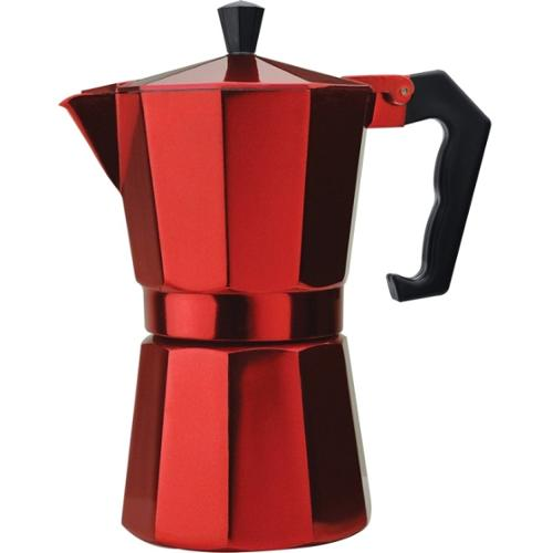 Primula 6 Cup Aluminum Stovetop Espresso Maker - Red - 12 fl oz Coffee Pot
