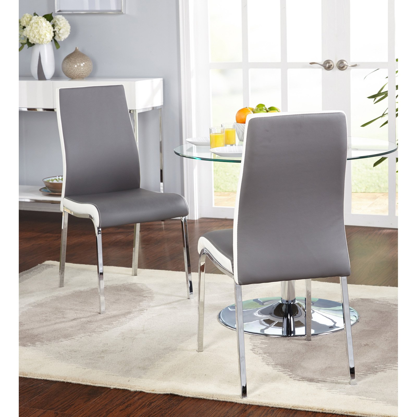 Nora Dining Chair, Set of 2, Gray/White