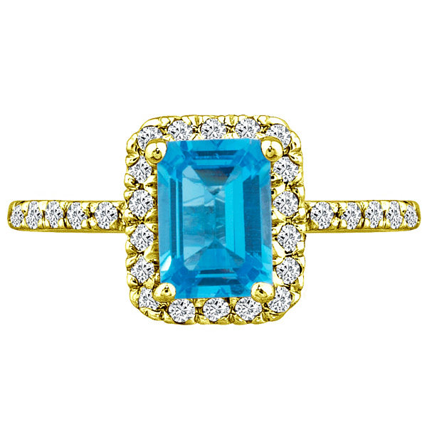 1.56 tcw Emerald Blue Topaz & Diamond Engagement Ring 14k Y Gold pl SIlver