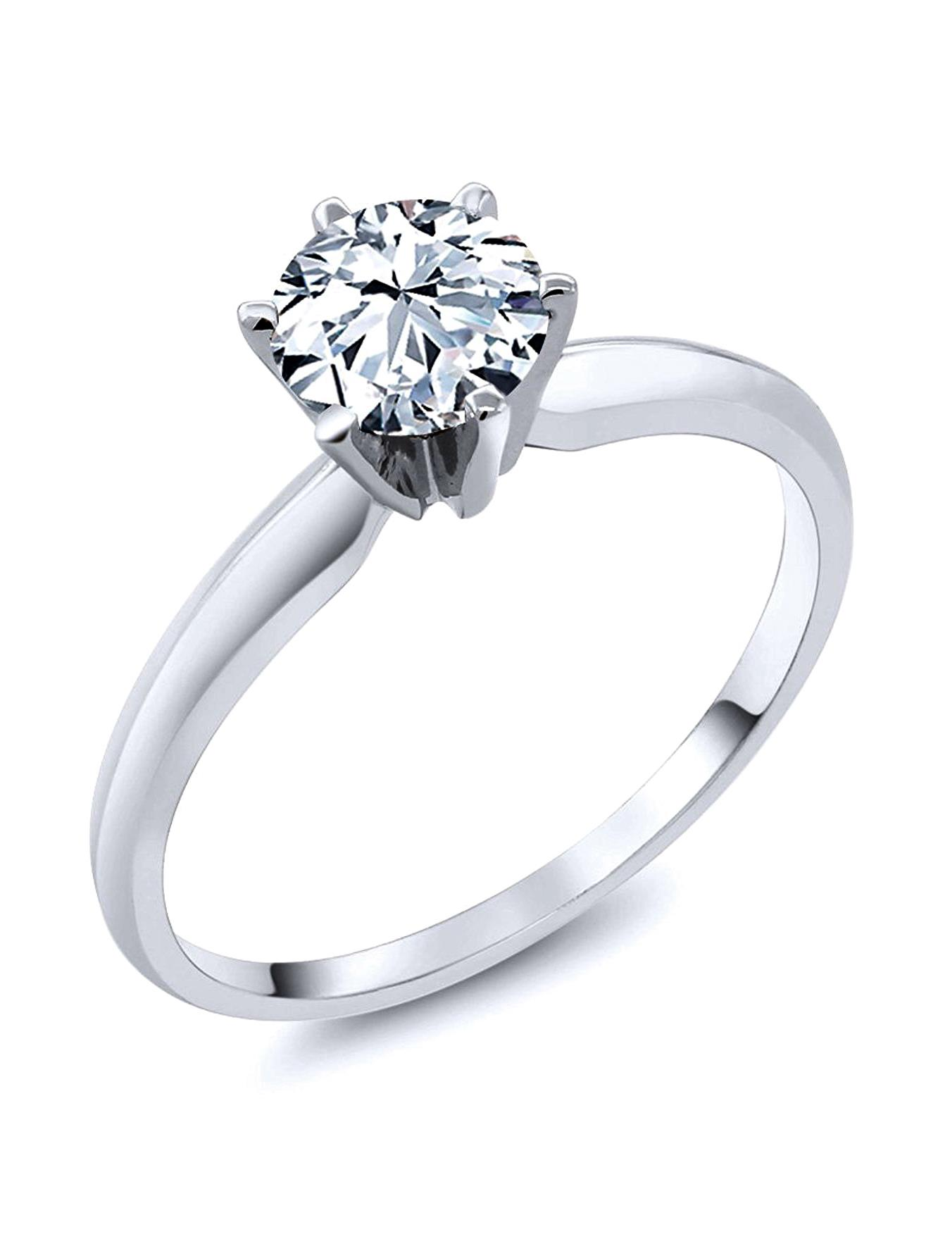 Sterling Silver Cubic Zirconia Solitaire 1.25 Carat tw Round Cut 6-Prong Set CZ Engagement Ring, Nickel Free Sz 7