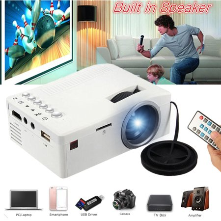 UNIC Home 1080p Mini LED Video Movie Game Projector Compact Pocket Projector Home Theater Cinema Digital Multimedia Projector Built in SPEAKER USB/TF/AV For Sound Bar/ PHONE /TV