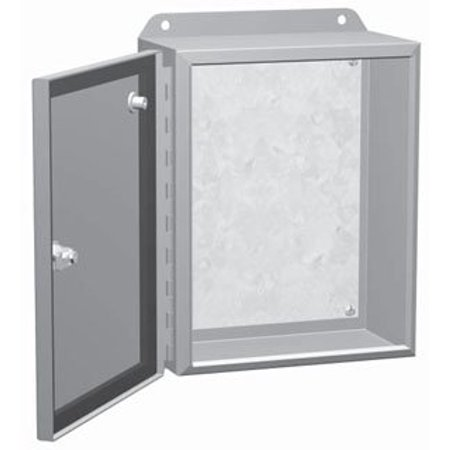 Hammond Manufacturing EJ12126 NEMA 4 Recoatable Powder Coated Steel One Door Continuous Hinge Junction Box With Quarter Turn 12 Inch x 12 Inch x 6 Inch ANSI 61 Gray Eclipse