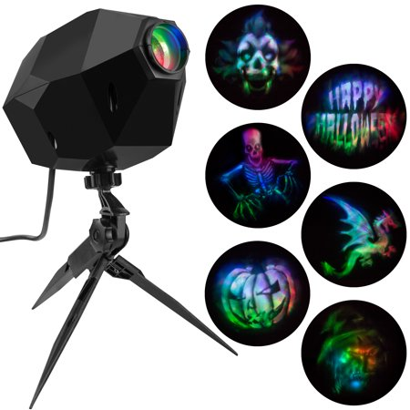 Lightshow Projection Illusion Projector 6 Scary Slides (Multi Color) by Gemmy Industries - Gemmy Halloween Life Size