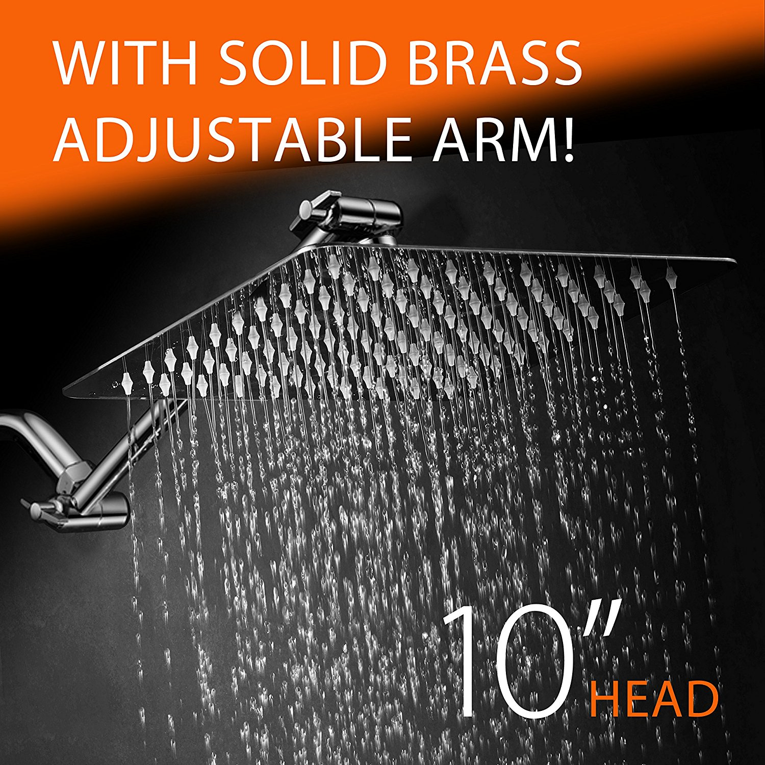 HotelSpa® Giant 10-inch Stainless Steel Rainfall Square Showerhead with 11-inch Solid Brass Adjustable Extension Arm