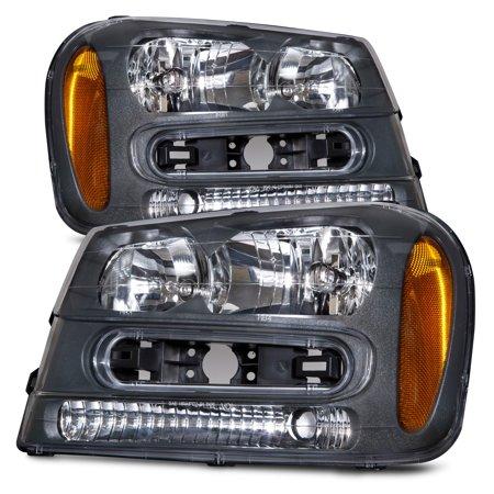 - 2002-2009 Chevy Trailblazer LS/LT/SS Black Housing Headlights Set w/Xenon Bulb New Headlamp GM2502213 & GM2503213