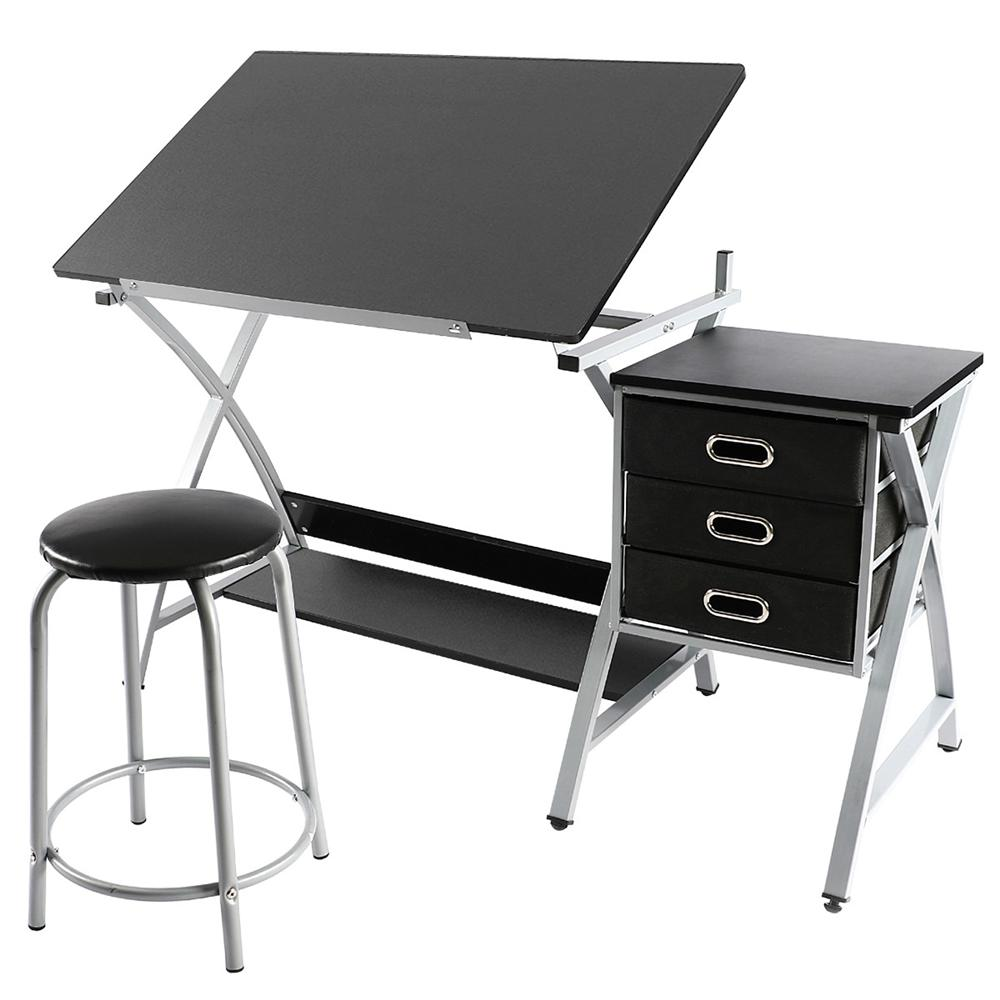 Yaheetech Adjustable Drafting Table Art & Craft Drawing Desk Art Hobby Folding  w/ Stool
