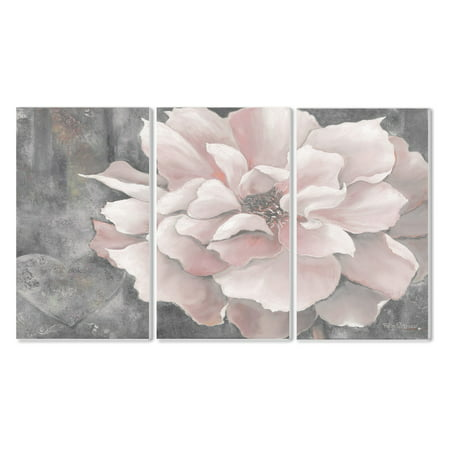 The Stupell Home Decor Collection Pastel Pink Peony On Gray Wall Plaque - Set of