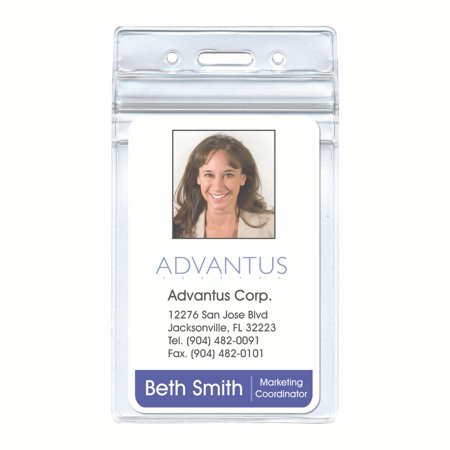 "Advantus® Resealable Badge Holder, Vertical, 2⅝"" x 3 ¾"", 50/PK"