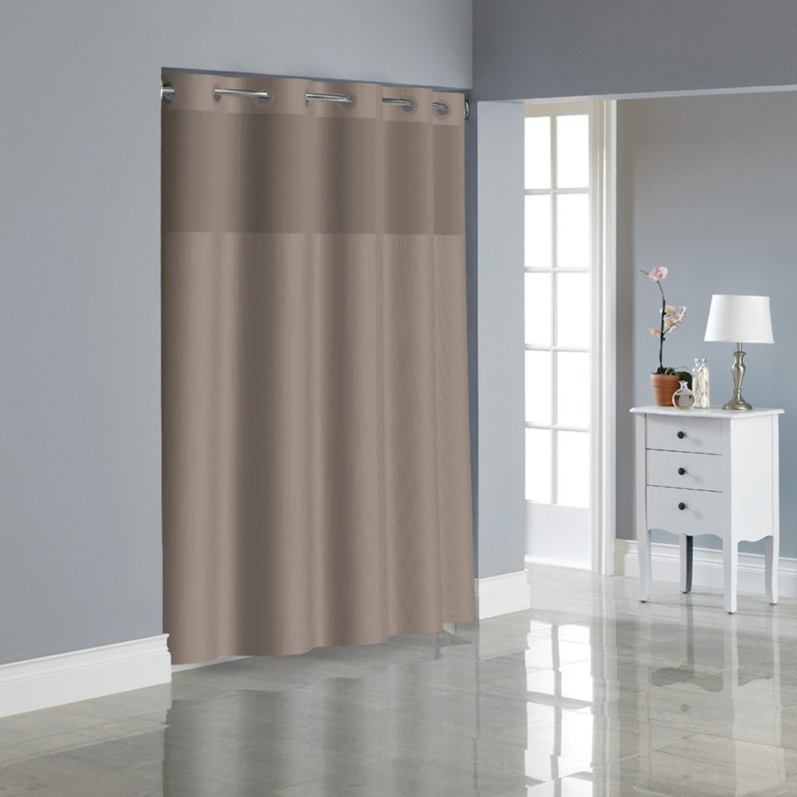 Hookless Desert Taupe Dobby Texture Polyester Shower Curtain