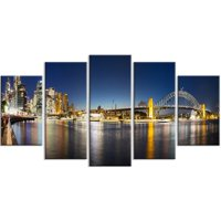 Design Art 'Cityscape Sydney Nightfall Panorama' 5 Piece Photographic Print on Wrapped Canvas Set