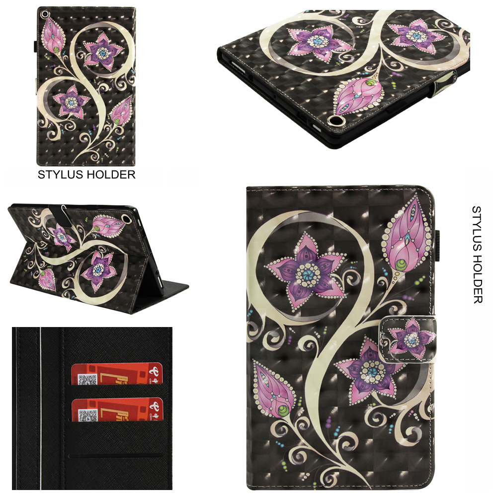 "Fire HD 10 2017/ 2015 Tablet Case, Amazon Kindle Fire HD 10.1"" 7th/5th Generation Cover, Allytech Bling Pattern PU Leather Bookstyle Folio Case with Built in Kickstand Auto Wake Sleep, Peacock Flower"