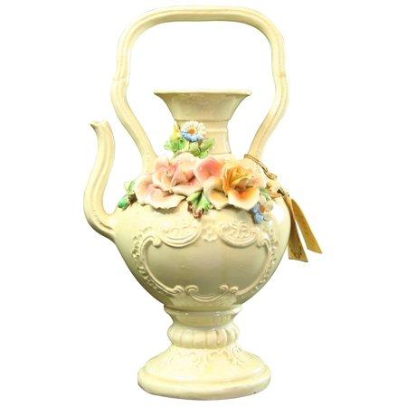 Vintage Italian Teapot Pitcher Vase Ceramic Raised Roses Original