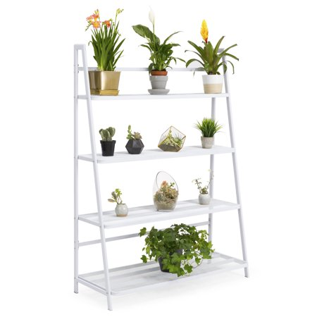 - Best Choice Products 4-Shelf Flower Pot Mesh Stand Shelving Storage Display for Indoor, Outdoor w/ Iron Display, Weather-Resistant Finish - White