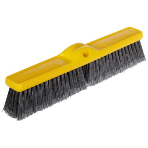 "Rubbermaid 9B00GRACT Fine Floor Sweeper, Polypropylene Fill, 18"" Brush, 3"" Bristles, Gray, 12/carton"