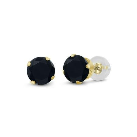 14k Round Onyx - 0.92 Ct Round 5mm Black Onyx 14K Yellow Gold Stud Earrings