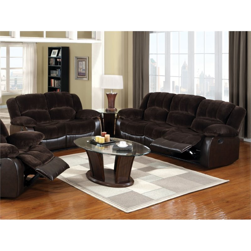 Furniture of America Briggs 2 Piece Sofa Set in Brown