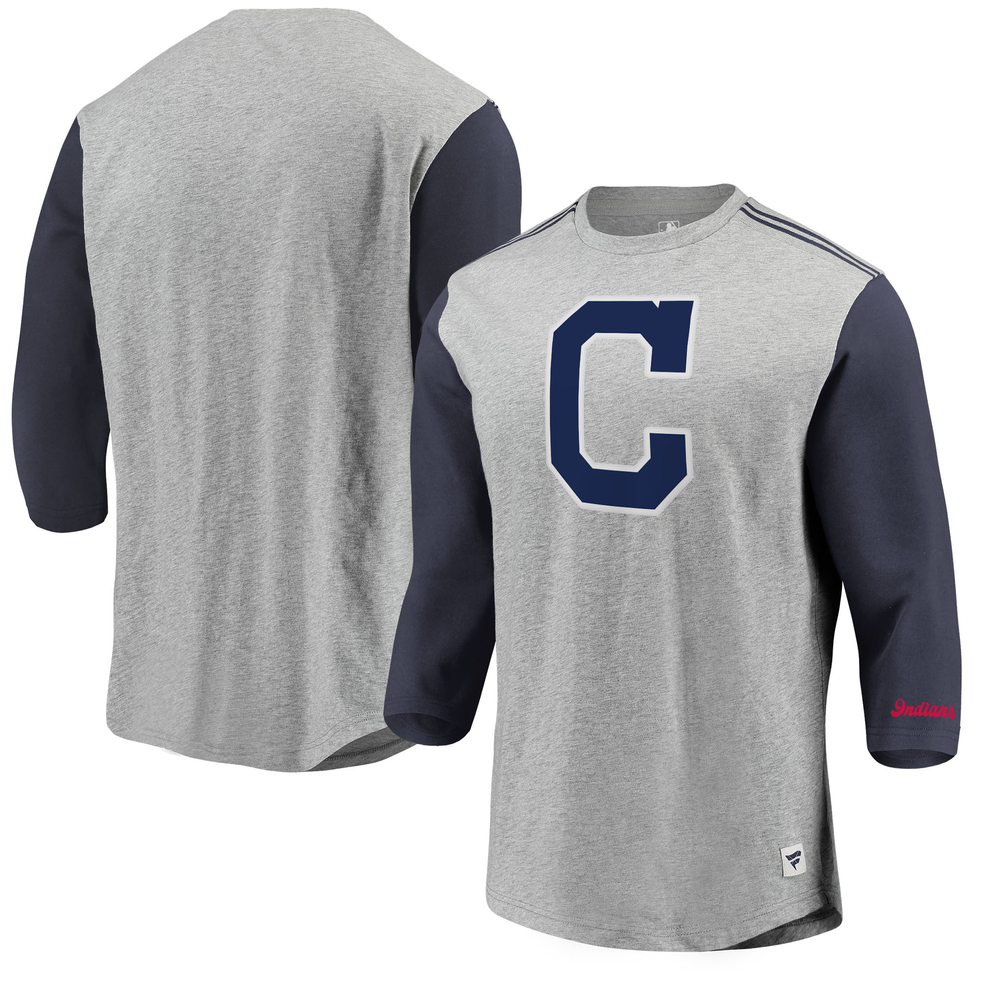 Cleveland Indians Fanatics Branded MLB Heritage Crew Neck 3/4-Sleeve T-Shirt - Heathered Gray/Navy