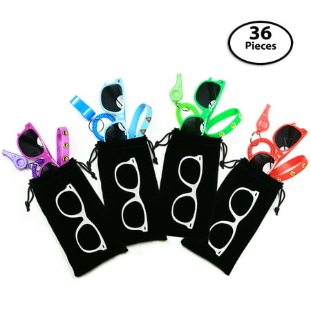 36-pcs Party Gift Favors for Kids,12 Goody Bags: Each Bag includes 12 Whistles + 12 Sunglasses + 12 Emoji Bracelets - Great Prizes ()