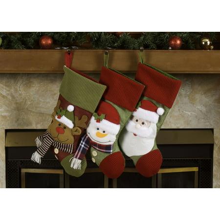 "Fleece Christmas Stockings Holders – 18"" Santa & Friends Xmas Stockings 3 Pack](Santa Pack)"