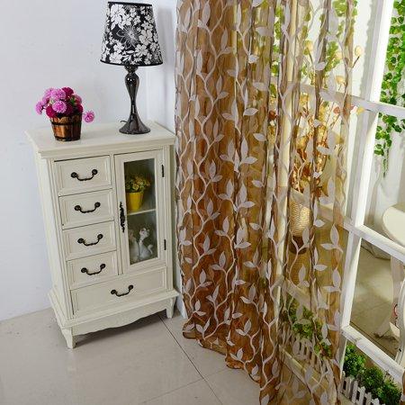 Voile Curtain Fabric (Leaf Sheer Curtain Tulle Window Treatment Voile Drape Valance 1 Panel Fabric)