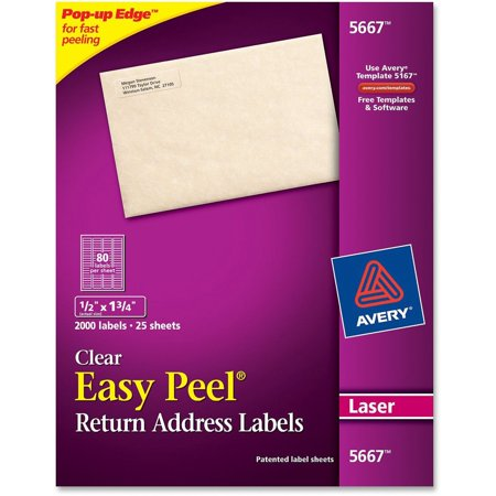avery matte clear easy peel return address labels laser 1 2 x 1 3