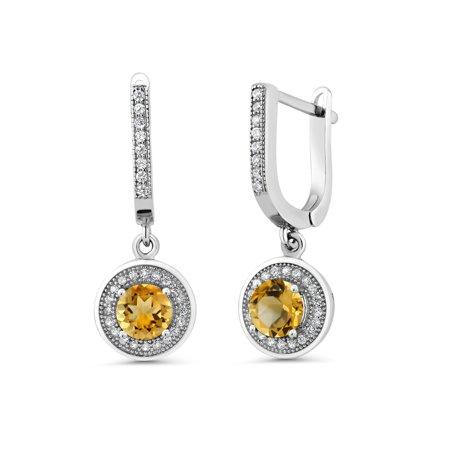 Lemon Citrine Earrings (1.62 Ct Round Yellow Citrine 925 Sterling Silver)