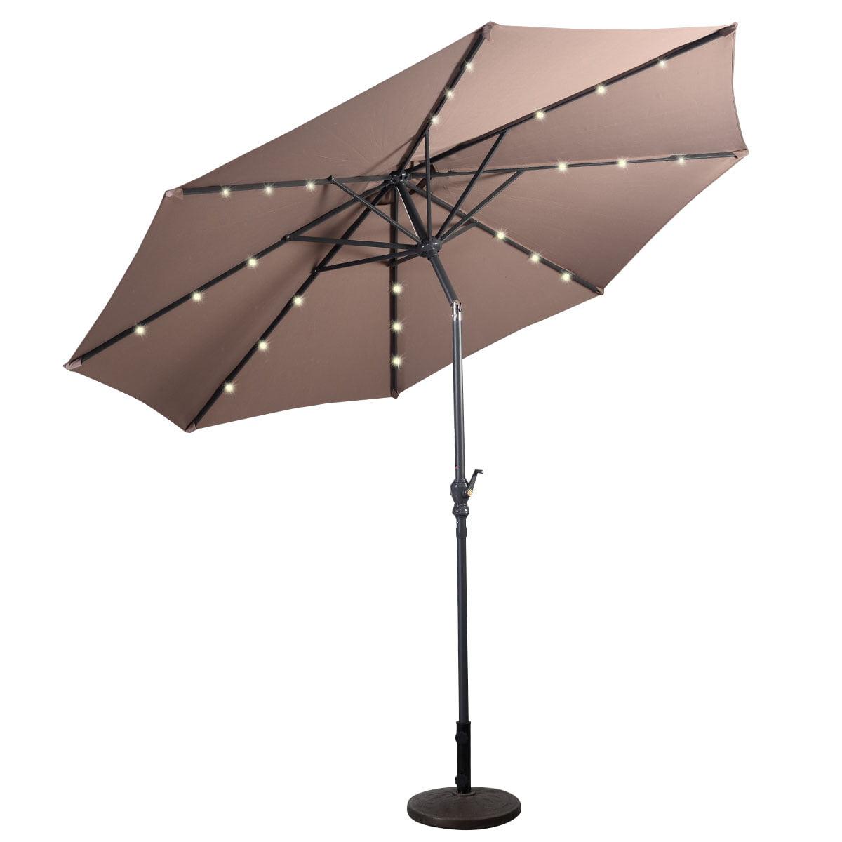 Costway 10ft Patio Solar Umbrella LED Patio Market Steel Tilt w  Crank Outdoor (Tan) by Costway