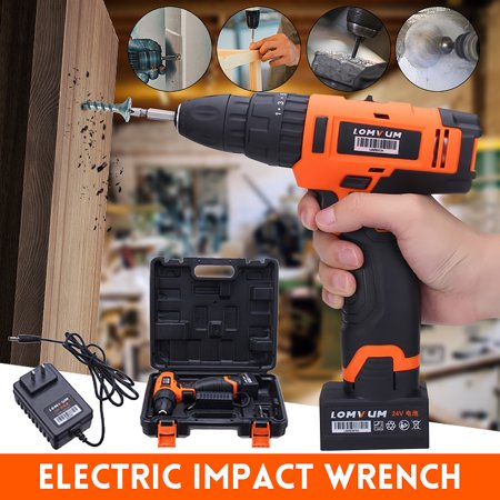 24V Electric Drill Cordless Mini Portable Screwdriver Inpact Wrench Rechargeable Lithium Ion Li-Battery 2 Speed Power Tools Hammer Home Decor Driver 0-1450R/MIN Household With Cas