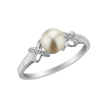 Cultured Freshwater Pearl Ring with Diamonds in 10K White Gold ()