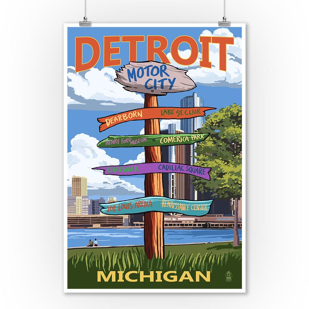 Detroit, Michigan Sign Post Lantern Press Artwork (9x12 Art Print, Wall Decor Travel Poster) by Lantern Press