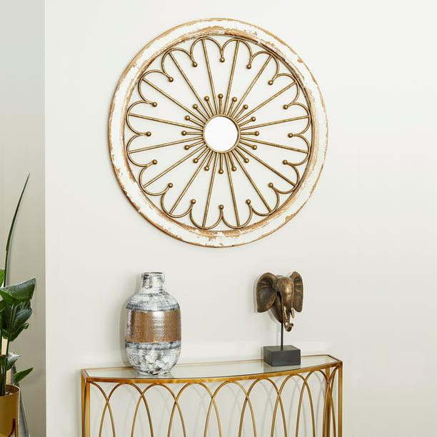 Gold Metal Mirror Wall Decor 35, Round White Wood Wall Decor