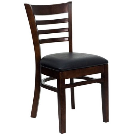 Flash Furniture Ladder Back Chairs - Set of 2, Walnut / Black Vinyl Seat