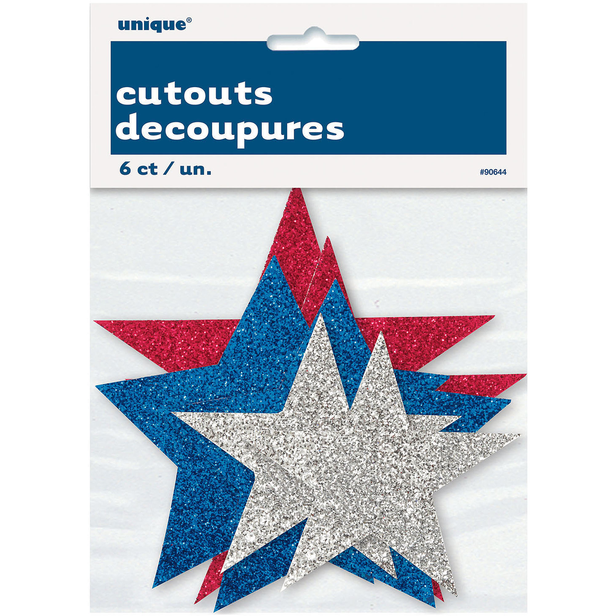 Glitter Star Fourth of July Decorations, 6pk