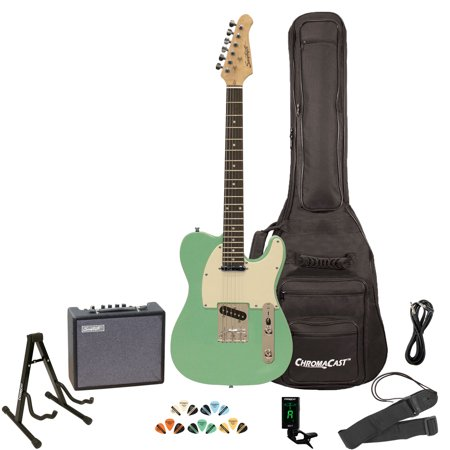 10 Series Electric Guitar (Sawtooth ET Series Surf Green with Aged White Pickguard Electric Guitar Kit with Sawtooth 10 Watt Amp and ChromaCast Stand, Picks, Tuner, Strap, Cable & Gig Bag Soft Case )