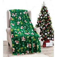 Holiday Essential Green Snowman Christmas Ultra Soft Hypoallergenic Fleece Throw Blanket Cover