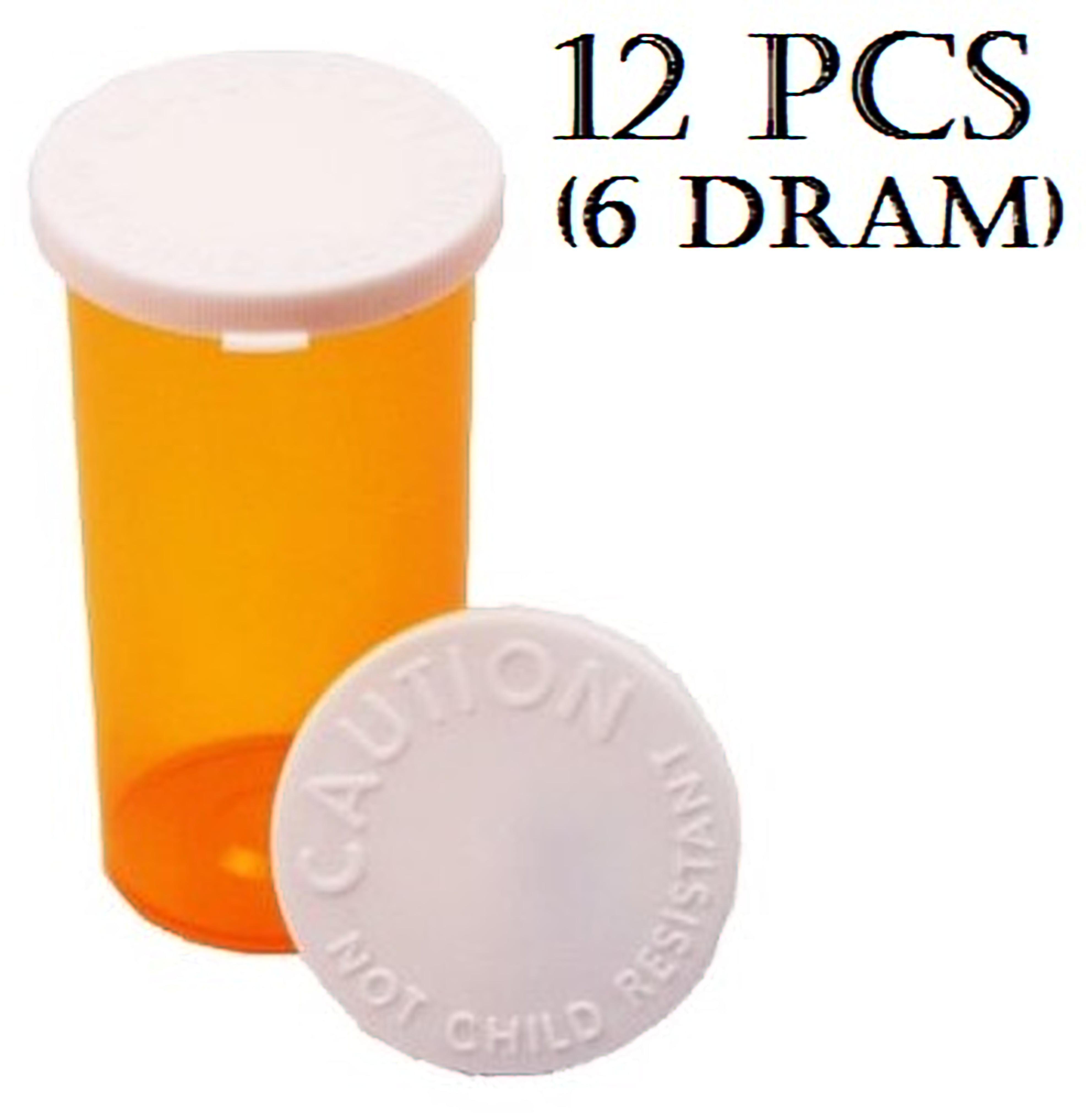 BioRx Sponix Pharmacy Vials - Snap Caps - 6 Dram - Amber - 12 pcs (Prescription Vial, Medicine Container, Pill Container)
