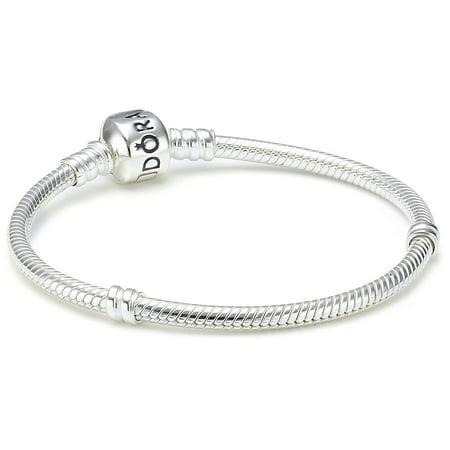 Sterling Silver Barrel Clasp Bracelet 6.7 Inch 590702HV-17