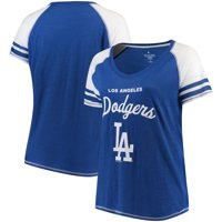 Los Angeles Dodgers Soft as a Grape Women's Plus Sizes Three Out Color Blocked Raglan Sleeve T-Shirt - Royal