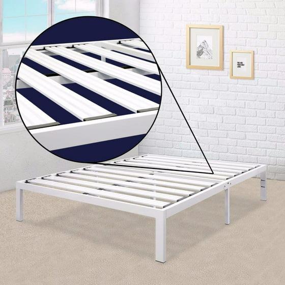 best price mattress model e heavy duty steel slat platform bed white twin sturdy durable. Black Bedroom Furniture Sets. Home Design Ideas